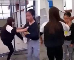 大人しそうな中学生の女の子を殴る蹴るの暴行を加えるいじめグループの自撮り記録が流出