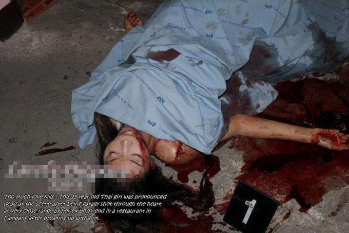 彼氏に別れ話した瞬間に拳銃で心臓を撃たれ殺されてしまった美女の死体|エログロ画像