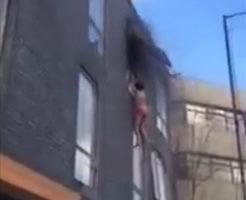 衝撃映像|火事から逃げるため飛び降りた少女…