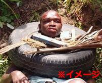 【タイヤネックレス】捕らえられた強姦魔、民衆に暴行されて焼き殺される