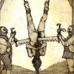 逆さ吊りにした人間を斬首する屠殺場みたいな処刑現場