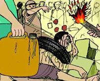 【タイヤネックレス】囚人を縛り付けて着火!犯罪者を縛ってペアで裁く群衆私刑