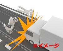 トラックのタイヤに向かってダイレクトスライディング