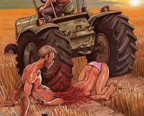 ちょ、ちょっと止まれって!トラクターを止めに入った作業員が耕され肉塊になる瞬間とその後…